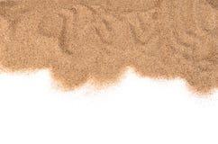 Het zand op witte achtergrond wordt geïsoleerd die Stock Afbeeldingen