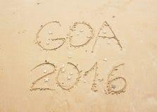 Het zand van GOA 2016 het van letters voorzien Royalty-vrije Stock Foto's