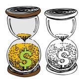 Het Zand van het Geld van het Glas van het uur Stock Fotografie