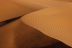 Het zandduin van de woestijn met schaduw stock fotografie