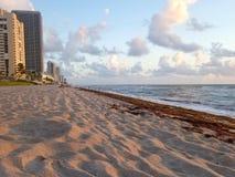 Het zandige strand van Florida van het Hallandalestrand tijdens zonsopgang stock foto