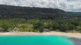 Het zandige strand van havenorly met palmen, Espiritu Santo Island, Vanuatu stock video
