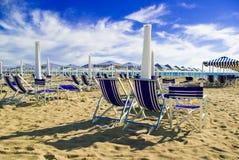 Het zandige strand van Viareggio, Tusca Stock Afbeelding