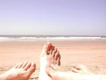 Het zandtenen van het strand Stock Fotografie