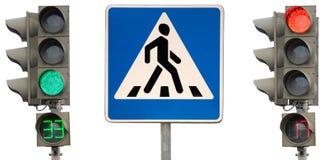 Het zebrapad van het teken met verkeerslichten Stock Afbeelding