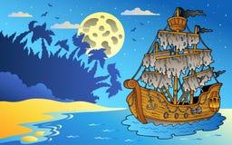 Het zeegezicht van de nacht met geheimzinnig schip royalty-vrije illustratie
