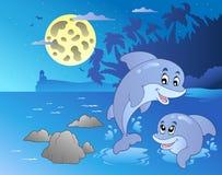 Het zeegezicht van de nacht met gelukkige dolfijnen vector illustratie