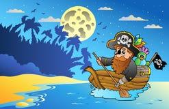 Het zeegezicht van de nacht met piraat in boot stock illustratie