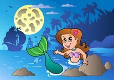 Het zeegezicht van de nacht met zwemmende meermin stock illustratie