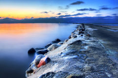 Het zeegezicht van de winter Stock Afbeeldingen