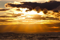 Het zeegezicht van de zonsondergang Stock Foto's
