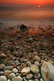 Het Zeegezicht van de zonsondergang Stock Fotografie