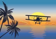 Het zeegezicht van de zonsondergang met vliegtuig vector illustratie