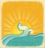Het zeegezicht van de zonsopgang. Wijnoogst Royalty-vrije Stock Foto