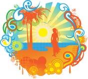 Het zeegezichtbanner van de zomer Stock Foto