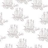 Het zeevaart naadloze patroon van de elementenpret Overzeese achtergrond Vector illustratie Royalty-vrije Stock Foto's