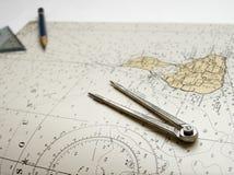 Het zeevaartpotlood van grafiekverdelers stock afbeelding