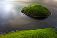 Het zeewier van het zeegezicht op rotsen zoals paradijseiland Stock Foto