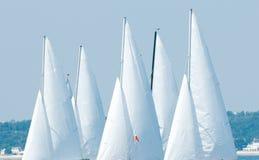 Het zeil van het jacht in regatta stock afbeelding