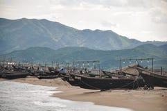 Het zeldzame beeld van staat noorden-Koreas controleerde lokale vissersvloot dicht bij de stad van Hamhung stock foto's