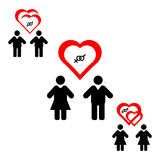Het zelfde-geslacht koppelt vlak pictogram Paren van het teken dezelfde geslacht Vrolijk huwelijk, lesbisch huwelijk Geïsoleerdj  royalty-vrije illustratie