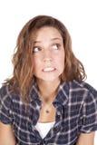 Het zenuwachtige blauwe overhemd van de vrouw Stock Foto's