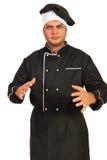 Het zenuwachtige chef-kokmannetje gesticuleert royalty-vrije stock fotografie