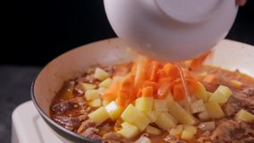 Het zetten van gehakte wortel in de roux in pan met rundvlees en aardappel stock videobeelden