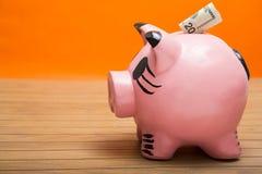 Het zetten van geld in moneybox Stock Afbeelding