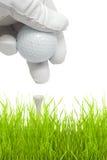 Het zetten van golfbal op een T-stuk Royalty-vrije Stock Afbeeldingen