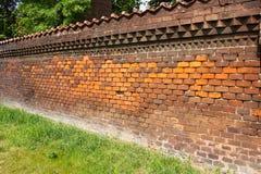 Het ziekenhuis Apolinar - de oude bakstenen muur van Praag Royalty-vrije Stock Afbeelding