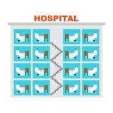 Het ziekenhuis bouwartsen in bureaus Infographic kliniek De medische bouw Arts en Patiënt stock illustratie