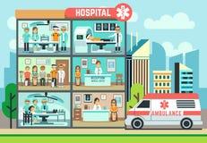 Het ziekenhuis, de medische kliniekbouw, ziekenwagen met patiënten en de vector vlakke illustratie van de artsengezondheidszorg royalty-vrije illustratie