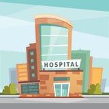 Het ziekenhuis de moderne vectorillustratie van het de bouwbeeldverhaal Medische Kliniek en stadsachtergrond De buitenkant van de royalty-vrije stock foto's