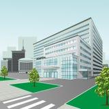 Het ziekenhuis die op stadsachtergrond voortbouwen Stock Afbeelding