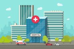 Het ziekenhuis die vectorillustratie, vlakke beeldverhaal moderne medisch centrum of kliniek bouwen op stadsstraat clipart stock illustratie