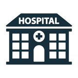 Het ziekenhuis die voorpictogram bouwen royalty-vrije stock fotografie