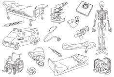 Het ziekenhuis, gezondheidszorg en medisch Overzicht, Schets en Lijn Art Vector Illustration Stock Fotografie