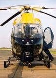 Het ziekenhuis landend stootkussen van de politiehelikopter ob stock foto