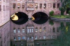 Het ziekenhuis van de Heilige Geest in de stad van Nuremberg in Duitsland stock foto