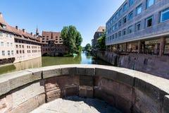 Het Ziekenhuis van Heiliggeist in het oude stadsdeel van Nurnberg stock foto's