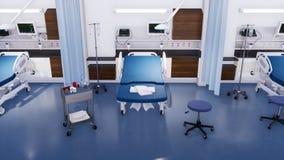 Het ziekenhuisbed en materiaal in lege noodsituatieruimte royalty-vrije stock afbeelding