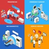 Het ziekenhuispatiënt 4 Isometrisch Pictogrammenvierkant Royalty-vrije Stock Foto