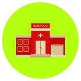 Het ziekenhuispictogram in in vlakke die stijl op grijze achtergrond wordt geïsoleerd De bouw van symbool voor uw ontwerp, emblee Stock Afbeelding