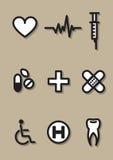 Het ziekenhuispictogrammen Stock Afbeeldingen