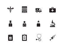 Het ziekenhuispictogrammen op witte achtergrond. Stock Foto's