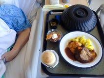 Het ziekenhuisvoedsel op een dienblad met zichtbare het wapen van de patiënt Royalty-vrije Stock Foto's