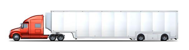 Het zij teruggeven van rode en witte semi-vrachtwagen Royalty-vrije Stock Foto's