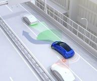 Het zijaanzicht staat systeem bij vermijdt autoongeval wanneer het veranderen van steeg stock illustratie