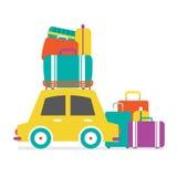 Het Zijaanzicht van de auto met Hoop van Luggages Royalty-vrije Stock Afbeeldingen